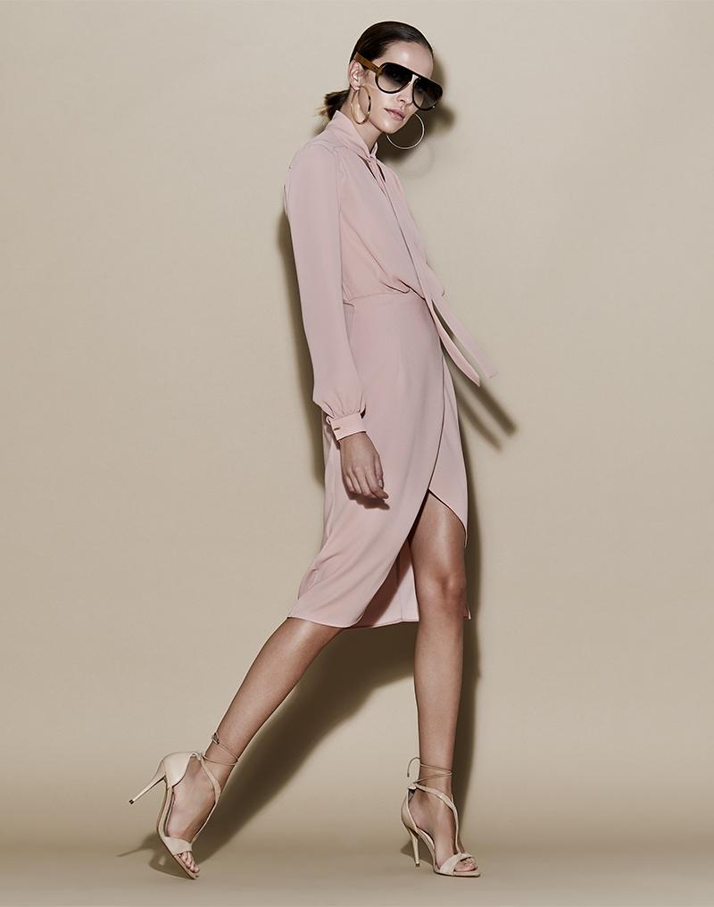 Vestido de crepe pareo ablusado - Vestido Marisa