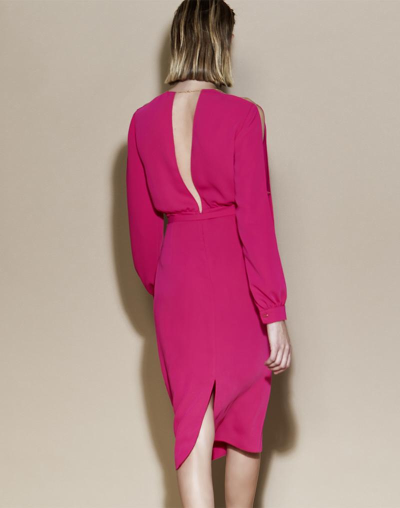 Vestido de crepe escote espalda en V - Vestido Marta
