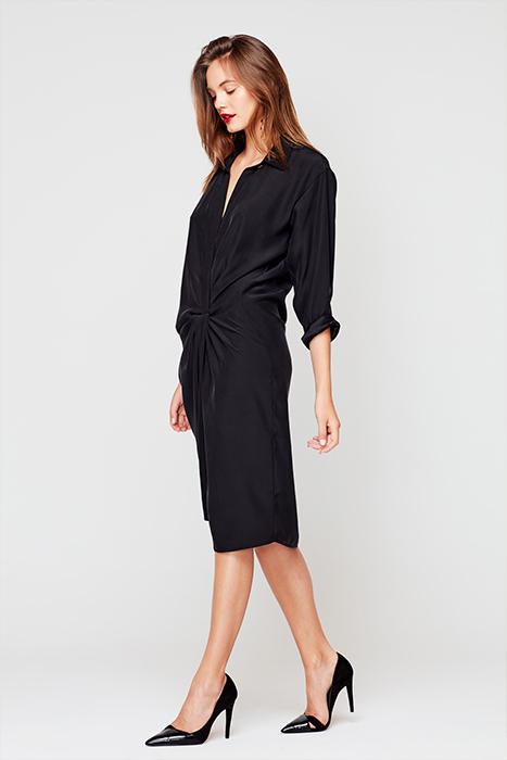 Vestido camisero de raso - Vestido Lucrecia Liso