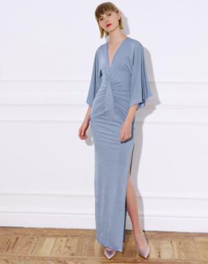 Long knit dress with wide kimono-style sleeves – LAUREN DRESS