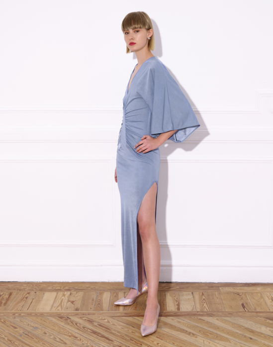 Long knit dress with wide kimono-style sleeves – LAUREN DRESS