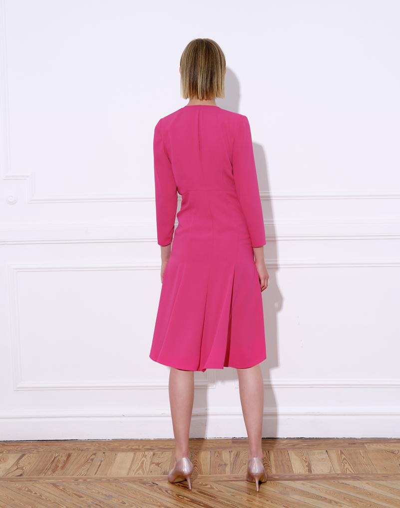 Crepe midi dress with plunging neckline – JACKIE DRESS