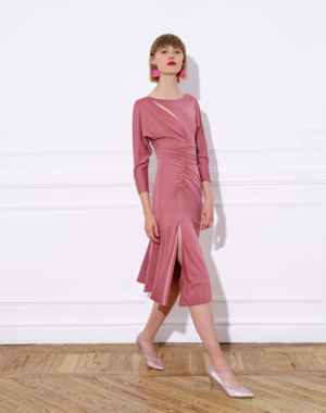 Midi jersey dress, with bateau neckline and A-line skirt – LUZ DRESS