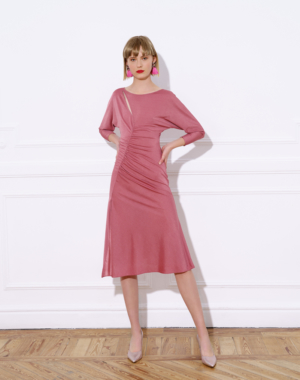 Midi jersey dress, with bateau neckline and A-line skirt – LUZ DRESS