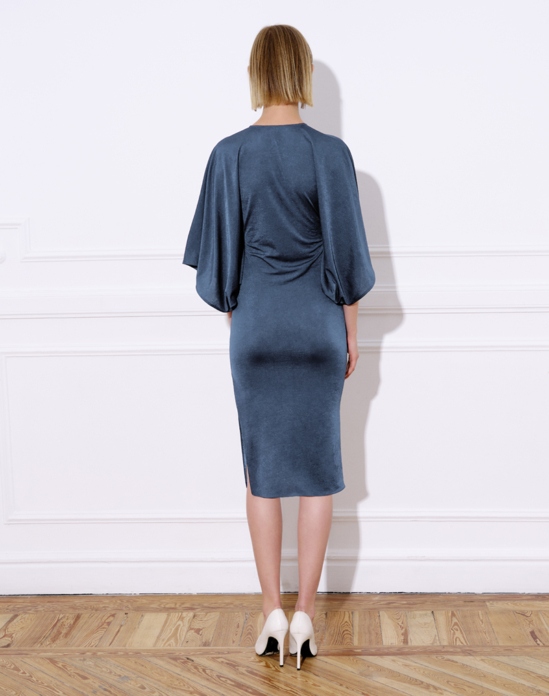 Midi knit dress, with wide batwing sleeves – LUPE DRESS