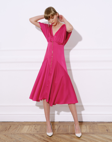 Stretch satin midi dress,  Japanese-style flared sleeve and flare-inspired skirt – BETY DRESS