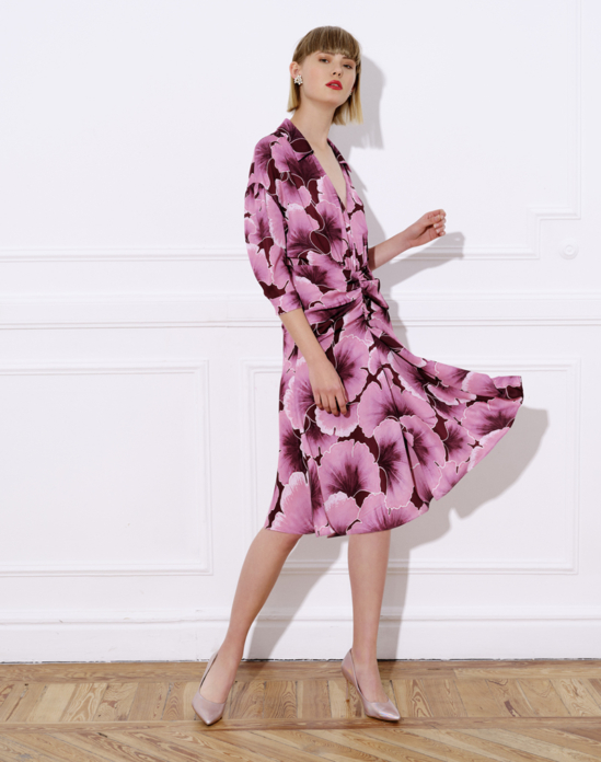 Printed satin midi dress with shirt neck and puff sleeves – CINTA PRINTED DRESS