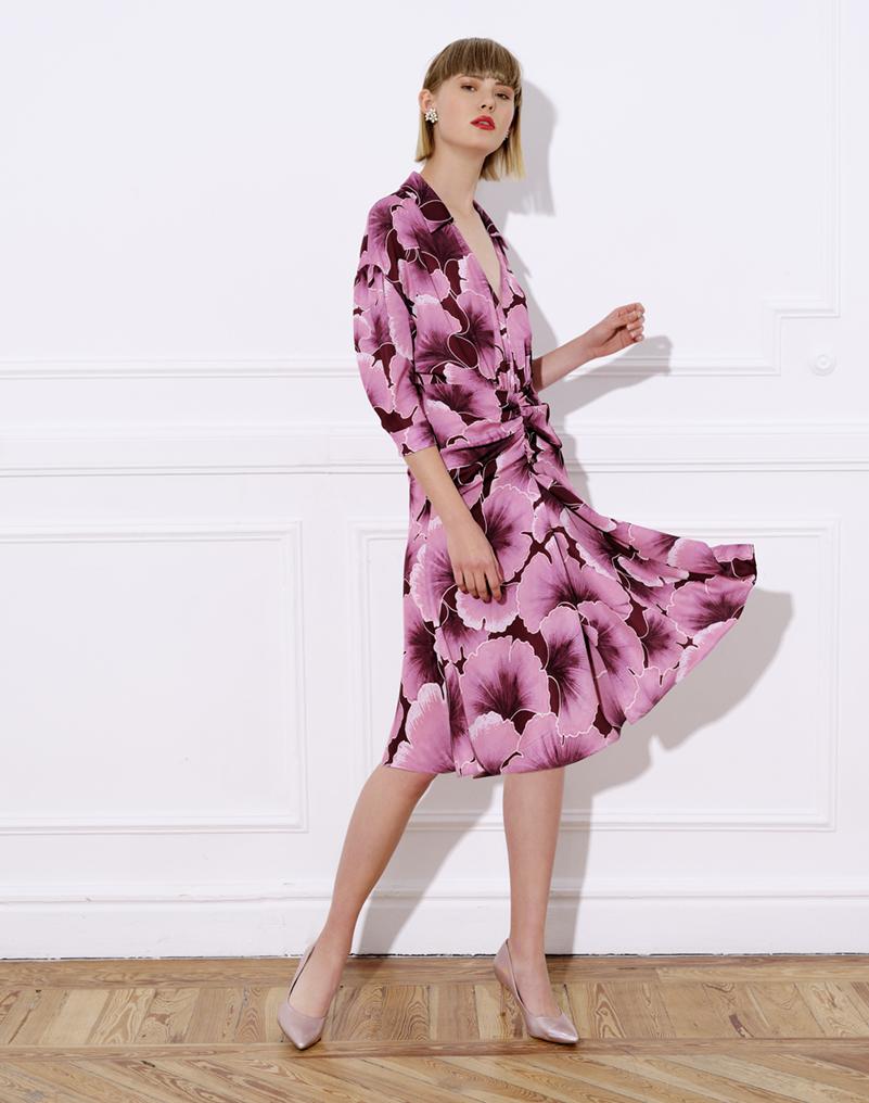 Printed satin midi dress with shirt neck and puff sleeves – CINTA PRINTED DRESS