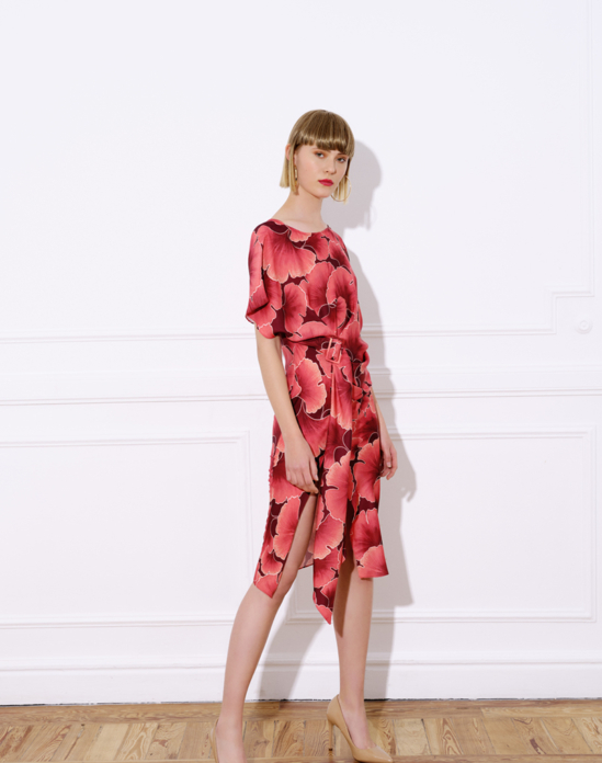 Printed satin midi dress, short Japanese-style sleeve and bateau neckline – CALA PRINTED DRESS