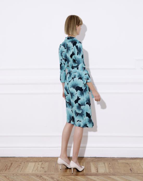 Printed satin midi wrap-dress and belt – JAZMÍN DRESS