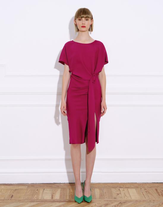 Triacetate midi dress with short Japanese-style sleeve and bateau neckline – CALA PLAIN DRESS