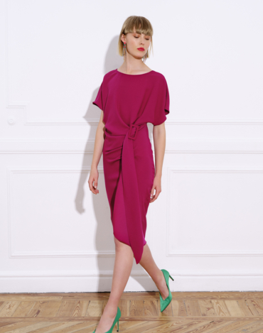 Triacetate midi dress with short Japanese-style sleeve and bateau neckline – CALA PLAIN DRESS