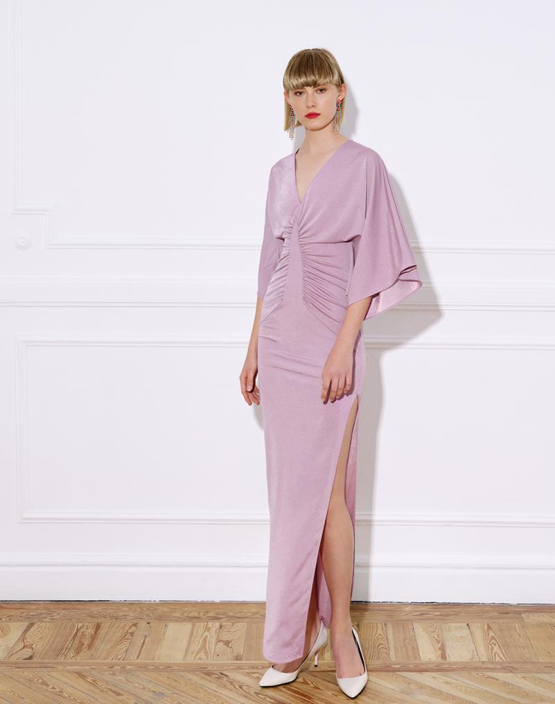 vestido largo punto, mangas kimono, vestido lauren, rosa