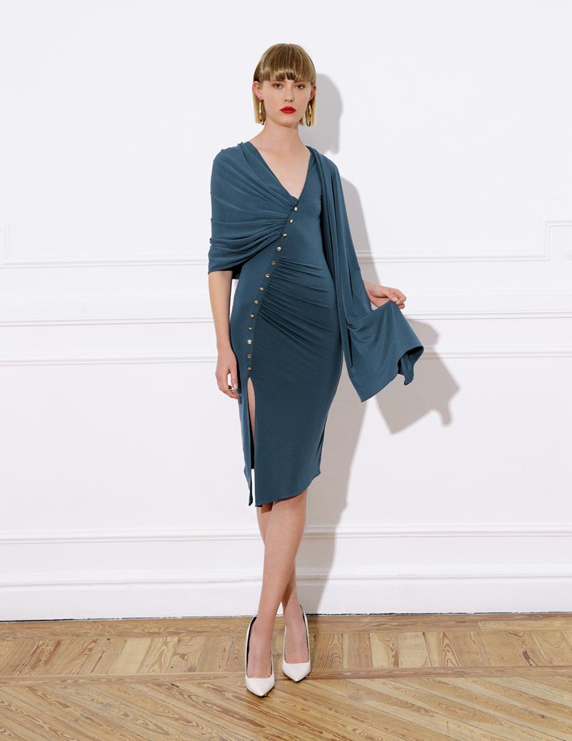 vestido midi punto, tirantes, pieza envolvente, vestido colibri azul