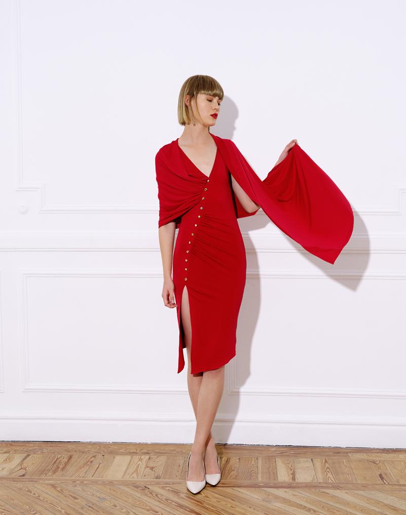 vestido midi punto, tirantes, pieza envolvente, vestido colibri rojo