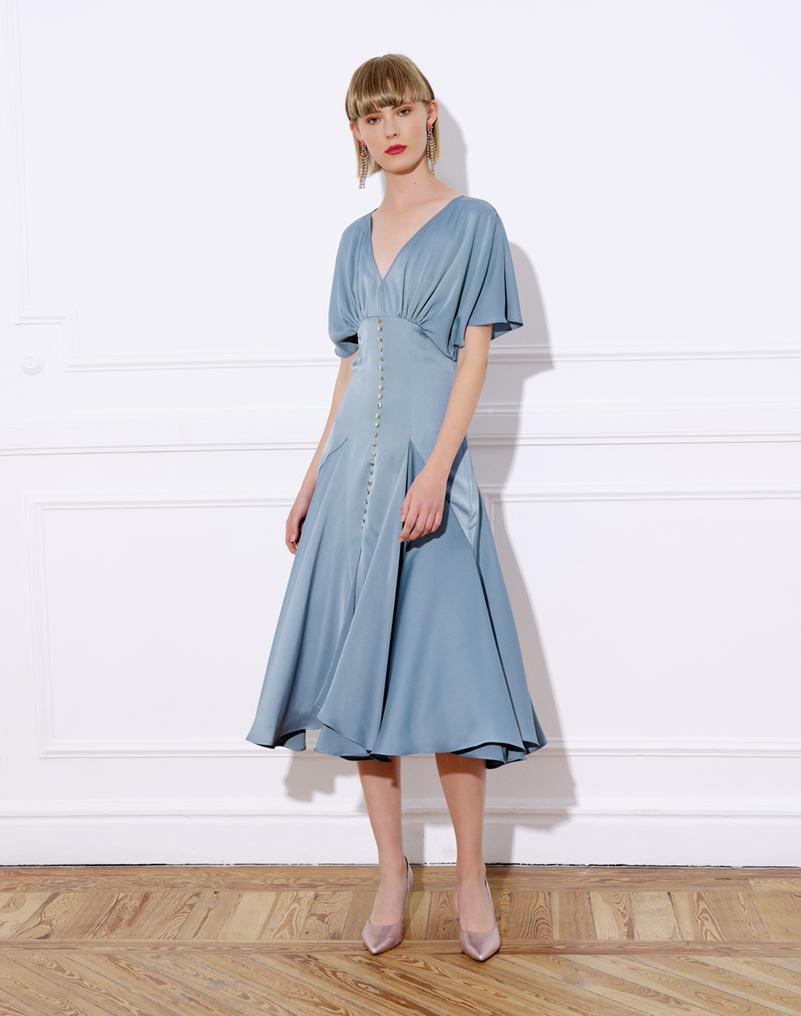 vestido midi, raso elástico, manga japonesa, vuelo falda, inspiración nesgas, vestido bety celeste