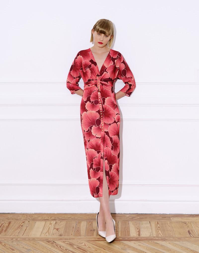 vestido midi, raso, estampado, manga francesa, vestido rosa coral