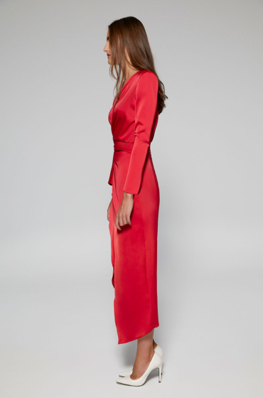 Lisa Stretch and satin midi dress