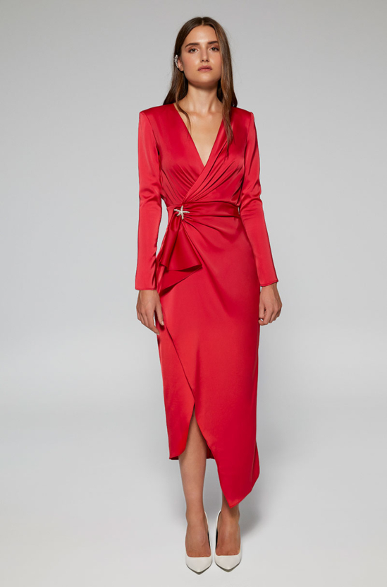 Lisa Stretch and satin midi dress