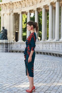 ALBA DRESS teal and reddish orange LOLA LI